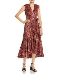 dcb42661871 Rebecca Taylor Leopard Print Tie-strap Dress in Brown - Lyst