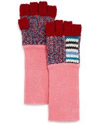 Burberry - Patchwork Striped Fingerless Gloves - Lyst