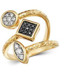 Bloomingdale's Diamond & Black Diamond Geometric Ring In 14k Yellow Gold - Metallic