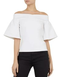 cd2ce6a0ff6d1 Lyst - Ted Baker Careo Cold Shoulder Top in White