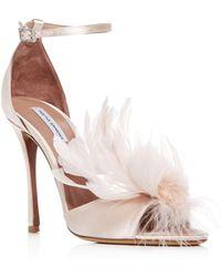 a4e0c35b912 Tabitha Simmons - Women s Satin   Feather High-heel Sandals - Lyst