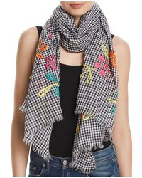 Fraas - Embroidered Gingham Oblong Scarf - Lyst