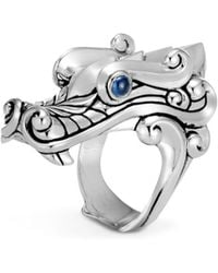 John Hardy - Sterling Silver Legends Naga Ring With Sapphire Eyes - Lyst