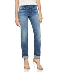 BCBGMAXAZRIA - Straight-leg Boyfriend Jeans In Medium Wash - Lyst