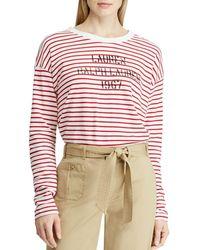 Ralph Lauren - Lauren Striped Logo Sweatshirt - Lyst