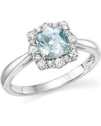 Bloomingdale's - Cushion-cut Aquamarine And Diamond Ring In 14k White Gold - Lyst