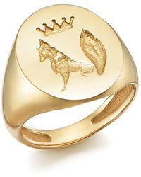 ICONERY - X Stone Fox Bride 14k Yellow Gold Fox Signet Ring - Lyst