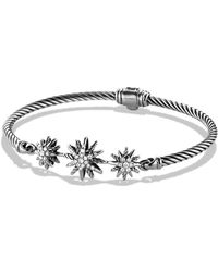David Yurman - Starburst Three-station Cable Bracelet With Diamonds In Sterling Silver - Lyst