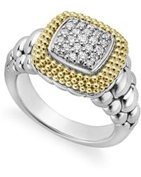 Lagos - 18k Gold And Sterling Silver Diamond Lux Square Ring - Lyst