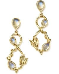 Temple St. Clair | 18k Yellow Gold Double Leaf Royal Blue Moonstone Earrings | Lyst