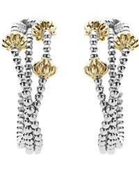 Lagos - 18k Gold And Sterling Silver Caviar Icon Hoop Earrings - Lyst