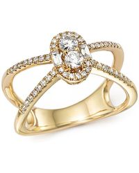 Bloomingdale's - Diamond Cluster X Ring In 14k Yellow Gold, .50 Ct. T.w. - Lyst