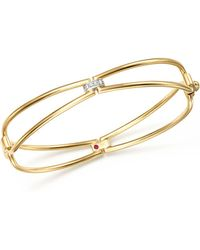 Roberto Coin | 18k Yellow Gold Classic Parisienne Diamond Bangle | Lyst
