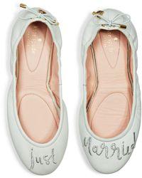 b017f66bfad0 Lyst - Kate Spade Women s Globe Velvet Travel Ballet Flats in Red
