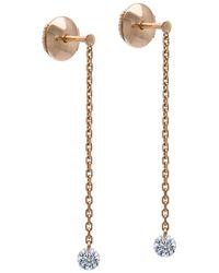 La Brune Et La Blonde - 18k Rose Gold 360 Diamond Drop Earrings - Lyst