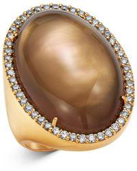 Roberto Coin - 18k Rose Gold Smokey Quartz Cocktail Ring With Diamond - Lyst
