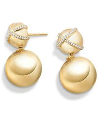 David Yurman - 'solari' Pave Wrap Double Drop Earrings With Diamonds In 18k Gold - Lyst