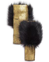 Jocelyn - Fox Fur-trim Metallic Fingerless Gloves - Lyst