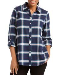 Foxcroft - Zella Windowpane Button-down Shirt - Lyst