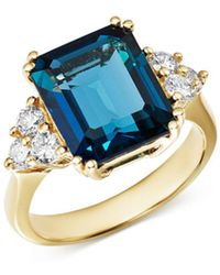 Bloomingdale's - Emerald - Cut London Blue Topaz & Diamond Statement Ring In 14k White Gold - Lyst