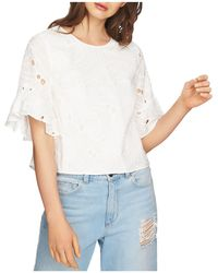 1.STATE - Embroidered Ruffle-sleeve Top - Lyst