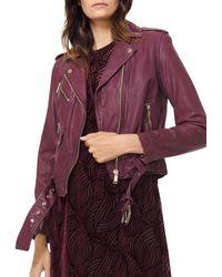 MICHAEL Michael Kors - Leather Moto Jacket - Lyst