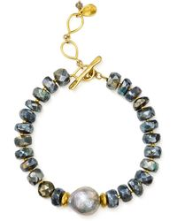 Chan Luu - Beaded Stone & Cultured Freshwater Pearl Toggle Bracelet In 18k Gold-plated Sterling Silver & Sterling Silver - Lyst
