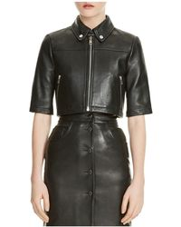 Maje - Brittany Cropped Leather Shirt Jacket - Lyst
