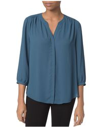 NYDJ - Notched-neck Solid Blouse - Lyst