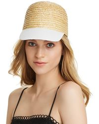 Aqua - Cotton Brim Straw Cap - Lyst