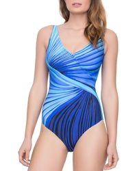 15d48d93ed38e Miraclesuit Night Lights Colorblock Highneck One-piece Swimsuit in ...