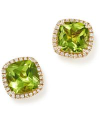 Bloomingdale's - Cushion-cut Peridot And Diamond Halo Earrings In 14k Yellow Gold - Lyst