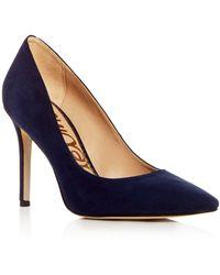 e5835f1d532905 Lyst - Sam Edelman Hazel Velvet Pointed Toe High-heel Pumps in Pink