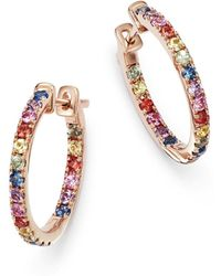 Bloomingdale's - Multicolored Sapphire Inside Out Hoop Earrings In 14k Rose Gold - Lyst