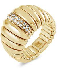 Hulchi Belluni - 18k Yellow Gold Tresore Diamond Wide Band Ring - Lyst