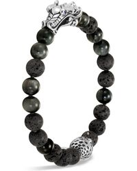 John Hardy - Men's Sterling Silver Legends Naga Black Volcanic Rock Beaded Bracelet With Sapphire Eyes - Lyst