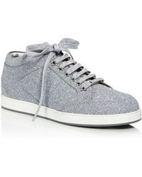 aa2bfbad054e Jimmy Choo Miami Navy Crackly Glitter Fabric Low Top Trainers in ...