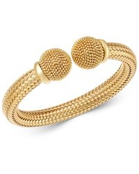 Bloomingdale's - 14k Yellow Gold Polished Braided Cuff With Beads - Lyst