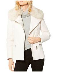Karen Millen | Faux Fur-collar Moto Jacket | Lyst