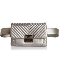 Aqua - Skinny V Quilt Belt Bag - Lyst