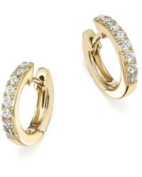 Bloomingdale's - Diamond Mini Hoop Earrings In 14k Yellow Gold - Lyst