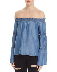 Honey Punch - Bell Sleeve Off-the-shoulder Chambray Top - Lyst