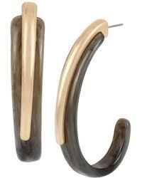Robert Lee Morris - Black & Gold Sculptural Open Hoop Earrings - Lyst