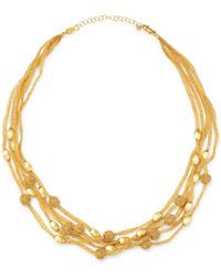Bloomingdale's - 14k Yellow Gold Beaded 5 - Row Mesh Necklace - Lyst