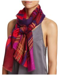 Aqua - Spliced Geometric Scarf - Lyst