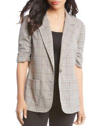 Karen Kane - Ruched Sleeve Single-button Plaid Blazer - Lyst