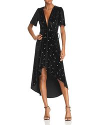 Re:named - Velvet Star-print Midi Wrap Dress - Lyst
