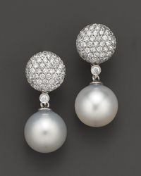 Bloomingdale's - Cultured White South Sea Pearl And Diamond Drop Earrings In 14k White Gold, 11mm - Lyst