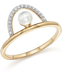 Mateo - 14k Yellow Gold Cultured Freshwater Pearl And Diamond Arc Ring - Lyst