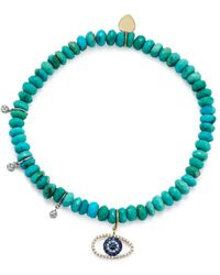 Meira T - 14k White And Yellow Gold Turquoise Beaded Bracelet With Sapphire And Diamond Evil Eye Charm - Lyst